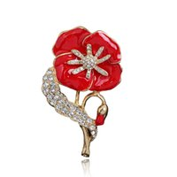 Wholesale Enamel Rhinestone Flower Clips - Crystal British Queen Poppy Flower Brooches Pins Corsages Scarf Clips women Men Gold Enamel Brooch Anniversary Jewelry Christmas Gift 170669
