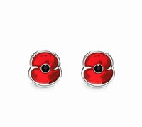 Wholesale Flower Poppies - White Gold Tone Red Enamel Small Poppy Flower Stud Earrings