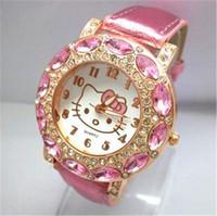 relógio de pulso criança venda por atacado-Crianças de luxo KT Gato Relógios Das Senhoras Das Mulheres Diamante Strass Relógios De Pulso Casual Crianças Estudantes Meninas Vestir Relógio
