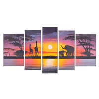 Wholesale Oil Paintings African Elephants - Modern Art Handpainted African Landscape Oil Painting Ready to Hang Elephant Painting on Canvas 5 panels