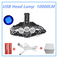 Wholesale Rechargeable Head Torches - 5Led Waterproof 10000Lm Blue Light 3*XML T6+2*XML USB Headlight Headlamp Head Lamp 5-mode Torch +2x18650 Battery for Fishing
