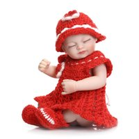Wholesale Baby Shower Mini Dolls - Silicone reborn baby dolls toy for girls mini collectable doll birthday Children's Day gift present bedtime shower bath toy