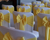 Wholesale Discount Wedding Chairs - Discount New Design Wholesale Curly Willow Wedding Chair Cover Sash with Hood Plain Dryed in Yellow