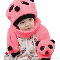 Wholesale Cotton Knit Scarves - Lovely Panda Hats and Scarves Sets Kids Hat Winter Cap Children Masks Baby Hat Knitted Warm Cotton Toddler Beanie Scarf Two-piece Set A299