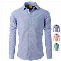 Wholesale Dresses Xx - Wholesale- A+ Quality Green Orange Blue Regular Fit Casual Oxford Shirt Men Long Sleeve Business Formal Non Iron Dress Shirt Plus Size XX
