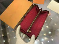 17 originalverpackung großhandel-Marke Frauen Echtleder Geldbörse Echtes Leder Lange Single Zip Brieftasche Kartenhalter Original-Reißverschluss-Tasche CX # 17 Mit Box Clemence M64201