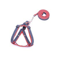 Wholesale Straps Dogs - Dog Harness Collar Lead Jean Denim Chest Harness Adjustable Thickened Resistant Dog Neck Strap Collar Leashes