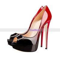 Famous New Nightclub Femmes Femmes Prom Open Peep Toes Chaussures Pompes 16cm Plateforme Sexy Up Gradient Talons hauts