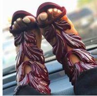 ingrosso tacchi neri gialli-Prezzo di fabbrica Donne Sandali Tacco Alto Sandali Scarpe Foglia Nero Rosso Giallo Sandali Zeppa Plaftorm Donna Scarpe Sexy Donna