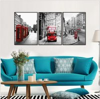 Modern London Red Bus Car Wall Art Picture Melamina Sponge Board Stampe su tela Pittura a olio 3pcs Cornice Art Picture London Paint