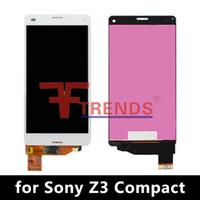 display z3 compact venda por atacado-Alta qualidade para sony z1 compacto / z3 compacto / z5 compacto display lcd touch screen digitador com / sem moldura preto branco