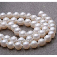 "Wholesale white south sea pearl earrings - 9-10mm AAA+ White natural South Sea Round Pearl Necklace 18"" 14k + gift earrings"
