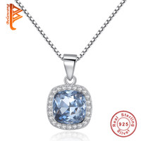 Wholesale Light Blue Stone Jewelry - BELAWANG Authentic 925 Sterling Silver Square Crystal Pendant Neckalce Light Blue&Deep Blue&Wine Red Stone Box Chain Necklace Women Jewelry