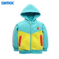 Wholesale 5t Cashmere - 1 piece lot 1T-5T DANROL boy autumn cotton hoodies baby coat fitted With cashmere sweater spring and children autumn sweatshirts DR0196