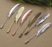 Wholesale Feather Lapel Pins - 2017 Silver Rose gold Antique bronze Copper metal feather lapel pin for men suits, fashion long brooch stick pin lot bridal wedding jewelry