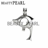 5 Pieces Lovely Dolphin Gift Cage 925 Sterling Silver Locket Love Wish Pearl Animal Pendant Montant