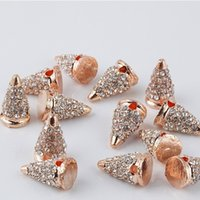 Venda Por Atacado Rose Gold Tone Spike Beads With Crystal Rhinestones Pave Hip Hop Solid Metal Bracelet Connector Charm Findings