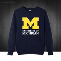 Wholesale Wholesale University Clothing - Wholesale- 2017 new Michigan University American college baseball s jersey clothing Men's Sweatshirts Printed Men Hoodies Pullover XS-XXL