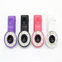 Wholesale Iphone Lens Filter - Mini Selfie Filter LED Flash Fill Light Camera Micro-lens Enhancing Clip External Spotlight Wide Angle Fish Eyes Lens for iPhone Samsung HTC