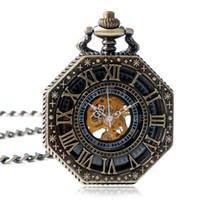 Wholesale Silver Pendants Wind - Hot sale Octagon Mechanical Pocket Watch Hand Wind Bronze Silver Steampunk Fob Chain Pendant Roman Number