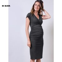 Wholesale Spandex Valentine - Summer Fashion Maternity One-piece Dresses Knee-Length Spring Maternity Clothing Pregnancy Clothes V-Neck Elastic Office Gown Valentine Gifs