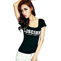 Wholesale Wholesale Slim Fit T Shirt - Wholesale- Tops & Tees New summer fashion letter printing t shirt women Sexy slim fit o neck short sleeve knitting cotton t-shirts M114