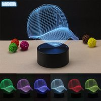 Al por mayor- Gorra de béisbol Nuevo acrílico 3D LED Night Light Touch Switch Lámpara de mesa USB 7 Color Room Decor LED colorido de iluminación para niños regalo