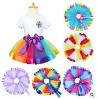 Wholesale Dancing Dress Petticoat - Kids Clothing Baby Tutu Skirts Rainbow Satin Girls Dresses Trimed Gauze Ballet Dance Petticoat Kids Ribbon Birthday Party Costume Skirts