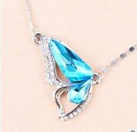 collar de mariposa coreano al por mayor-S925 artículo decorado mariposa bailando versión coreana de cristal colgante collar