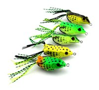 Wholesale Plastic Frog Fishing Lure - 5pcs set Colorful Soft Plastic Fishing lures Frog lure With Hook Top Water 6CM Artificial Fish Tackle With Retail Package