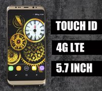 Wholesale Phone Video Memory - New Real Fingerprint Goophone S8 Plus 4g Lte Octa Core 5.7 Inch 1920x1080 Screen 1GB RAM 16GB ROM Add 64G Memory Card Show 4+64GB S8 Phone