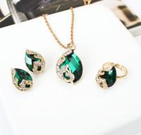Wholesale Teardrop Bib Statement Necklace Wholesale - 2016 fashion crystal jewelry sets for women teardrop water drop bib statement necklace pendants earring ring three-piece jewelry