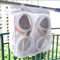 Wholesale Laundry Net Fabric - Shoes Washing Bags Net Wash Washing Cleaner Boot Utility Sneaker Sports Laundry Shoes Hanging Bag Storage Organizer Bags 100pcs OOA2702