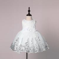 vaftizci elbisesi gelinlik toptan satış-Yeni Bebek Bebek Kız Gelinlik Vaftiz Vaftiz elbise Pageant Elbise Sequins Ile Toddler Kızlar Için Prenses Elbise 0-2 Yıl