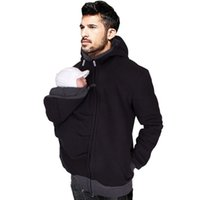 Atacado - Baby Carrier Hoodies For Dad Casacos de canguru de homens com Zipper Coat Men Carry Baby Sweatshirt Black Winter Warm