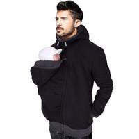 hoodie do paizinho venda por atacado-Atacado-Hoodies transportadora de bebê para homens Dad casaco de canguru com zíper casaco homens transportar bebê camisola preta inverno quente