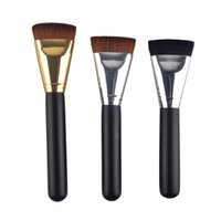 Wholesale brush for cream foundation - Black Makeup Brushes Foundation Concealer Brush Cosmetic Single Universal Brush Wood Hand Makeup Tools for BB Cream silver gold tube