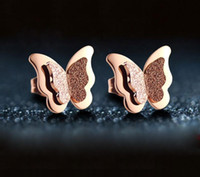 Wholesale Butterfly Flower Rose Heart - hot sale high quality fashion anti rust Titanium steel rose gold plated butterfly stud earring for women