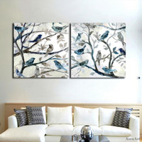Wholesale canvas painting set two - Hand Painted Abstract Oil Painting On Canvas 2P Modern Bird Singing on The Branches Wall Art Set for Living Room Home Decor