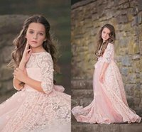 Wholesale Short Cute Formal Dresses - 2017 New Cute Bateau Princess Pink Lace Flower Girls' Dresses Half Sleeves Tulle Girls Pageant Gowns Kids Formal Wedding Dresses