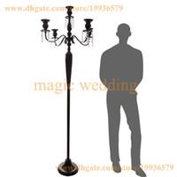 ingrosso decorazioni candelabri-5ft alto 5 braccio candelabro d'argento del pavimento dell'oro bianco con il branello di cristallo d'attaccatura per la decorazione domestica del partito