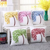 Wholesale Cushion Cover Embroidery Patterns - 45*45Cm Decorative Embroidery Blanks Pillow Covers Cushion Case Embroidery Pillow Covers Backrest Tree Pattern Cushion Covers