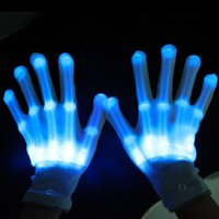 Wholesale Glow Lighting - Pair of led gloves luminous flower finger light gloves party supplies dancing club props light up toys glowing unique gloves