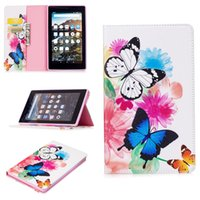 Wholesale Kindle Fire Hd Smart Cover - For Fire Kindle 2017 Smart Tablet Case Cover Stand Fashion Tablet Designer PU Leather Cover Two Butterfly Pattern