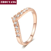 Wholesale V Ring Size - Top Quality ZYR011 V Lover Hot Sell Elegant Rose Gold Plated Wedding Ring Austrian Crystals Full Sizes Wholesale