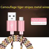 Wholesale market phones resale online - USB Cable Durable type c Camouflage tiger stripes metal wires Applicable to all kinds of mobile phones on the market
