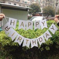 Atacado- Glitter Happy Birthday Bunting Banner Gold Letters Guirlandas penduradas Cadeias de cordas Baby Shower birthday Party Decoration Props