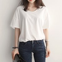 Wholesale Wholesale Cheap Cotton Shirt - 2017 Classic Fashion Pure Color Women's T-Shirt For DIY White Black Tees Top Cotton 100% Quality Cheap Price Fast Shipping Well Priced Item