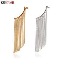 Wholesale Long Earrings Leave Cuff - Punk 1 pcs Left long earrings for women tassel Clip on earings fashion jewelry piercing ear cuff Earring SHEEGIOR party Jewelry