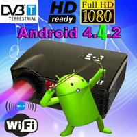 Wholesale Dvd Dvb Android Wifi - Wholesale-Best ATCO Quad core Android 4.4 WiFi Smart 5500Lumens DVB-T Digital TV 1080P full HD Led Projector HD LCD DVD Proyector Beamer